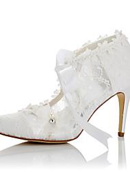 Mujer Tacones Confort Encaje Satén Verano Otoño Boda Vestido Fiesta y Noche Confort Aplique Tacón Stiletto Blanco 7'5 - 9'5 cms