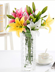3 Lilies Single Piece of Film Feel PVE Lily Simulation Flower Wedding Home Decoration High-Grade False Flowers 5 Branch/Set