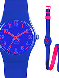 Kid's Sport Watch Quartz Water Resistant / Water Proof Rubber Band White Blue Purple