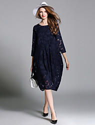 JIANRUYI Women's Going out Casual/Daily Sexy Loose DressJacquard Round Neck Midi 3/4 Length Sleeve Polyester Summer Fall High Rise Inelastic Sheer