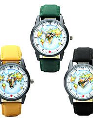 Homens Relógio de Moda Relógio de Pulso Relógio Casual Chinês Quartzo / PU Banda Casual Padrão Mapa do Mundo Elegantes Preta Marrom Verde