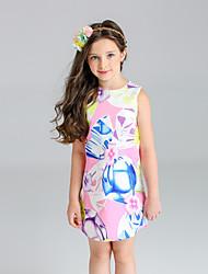 Girl's Floral Print Dress,Cotton Polyester Spring Summer Sleeveless