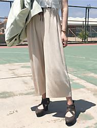 Для женщин просто Chinoiserie strenchy Широкие Чино Брюки,Завышенная Свободные Свободный силуэт Чистый цвет Однотонный Текстура