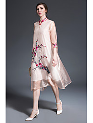 JOJO HANS Women's Party Going out Vintage Chinoiserie Loose DressFlower/Floral Stand Midi Half Sleeve Polyester Organza Summer Mid Rise Inelastic