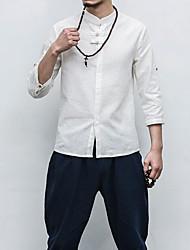Masculino Camisa Social Casual Trabalho Simples Sólido Algodão Linho Outros Colarinho Chinês Manga 3/4