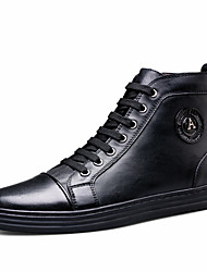 Men's Sneakers Novelty Spring Summer Real Leather Casual Black Flat