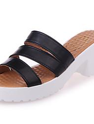 Women's Slippers & Flip-Flops Light Soles Summer PU Walking Shoes Casual Low Heel White Black Beige Blue 3in-3 3/4in