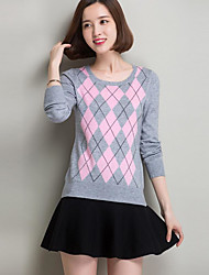 Women's Casual/Daily Simple Regular Pullover,Striped Round Neck Long Sleeves Cashmere Fall Winter Medium Micro-elastic