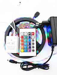 5M Waterproof 3528 RGB Strip Lights 300leds Led Stripe 24keys Controller 2A Power IP65 for Home DC12V