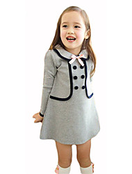 Girl's Solid Dress,Rabbit Fur Cotton Fall Winter ¾ Sleeve