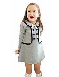 Robe Fille de Couleur Pleine Fourrure de Lapin Coton Automne Hiver Manches ¾