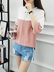 Tee-shirt Femme,Couleur Pleine Quotidien Décontracté Chic de Rue Printemps Eté Demi Manches Col Arrondi Coton Epais