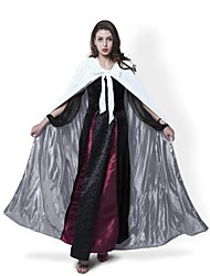 Cosplay Costumes Halloween Hooded Cloak Wedding Cape Wizard/Witch Ghost Vampire Party Masquerade White Velvet/Silver Silk