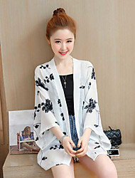 Women's Casual/Daily Pattern Casual Spring Summer Jacket,Print V Neck 3/4 Length Sleeve Regular Polyester