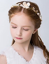 Girl's Headband Flower Pearl Decorative Slim Alloy Hair Accessory