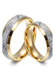 2PCS Couple's Rings  Simple  Elegant Cubic Zirconia Titanium Steel Ring Jewelry For Wedding Anniversary Daily