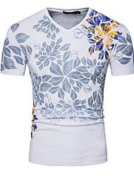 T-shirt Da uomo Casual Semplice Con stampe A V Lino Manica corta