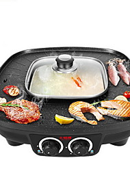 Square Double-control Rinse And Baked Home Multi-functional Electric Hot Pot