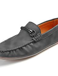 Men's Loafers & Slip-Ons Comfort Spring Summer PU Casual Low Heel Gray Light Brown Khaki Under 1in