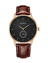 Men's Fashion Watch Quartz Genuine Leather Band Brown