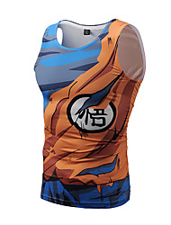Men's Casual/Daily Club Street chic Active Punk & Gothic Summer Tank Top,Print Round Neck Sleeveless Polyester Thin