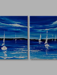IARTS® Modern Abstract Summer Ocean Sailing View in Ocean Blue Set of 2 On Canvas with Stretched Frame Wall Art For Home Decoration Ready  To Hang