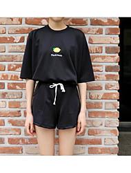 Sweat à capuche Pantalon Costumes Femme Eté Manches longues Col Arrondi Micro-élastique