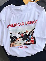 T-shirt Da donna Quotidiano Romantico Estate,Modello Rotonda Cotone Manica corta Medio spessore