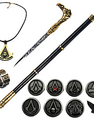 Inspired by Assassin Ezio Video Games Anime Cosplay Accessories Necklace Brooch Ring PVC Weapon Chrome (13PCS)
