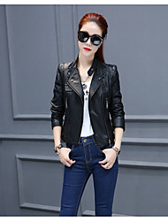 Women's Casual/Daily Punk & Gothic Fall Leather Jacket,Solid Stand Long Sleeve Regular PU