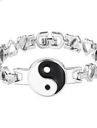 Lureme Simple Jewelry Metal Yin Yang Amulet Straps Bracelets