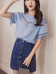 Women's Daily Casual Casual Summer T-shirt Skirt Suits,Color Block Jeans Round Neck Short Sleeve Micro-elastic