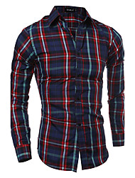 Man Almirah Necessary ArticleMen's Plus Size Casual Shirt Striped Print Plaid Standing Collar Long Sleeve Cotton Polyester Thin