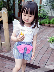 Girl's Fashion And Lovely Temperament Melting Fly Lace Sleeve Short Sleeve T-shirt Stripe Shorts Two-Piece Dress