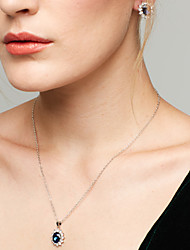 Жен. Набор украшений Серьги-гвоздики Ожерелья с подвесками Сапфир Мода европейский Elegant бижутерия Драгоценный камень Цирконий Стразы