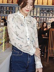 Feminino Blusa Casual Simples Verão,Estampado Outros Colarinho Chinês Manga Longa
