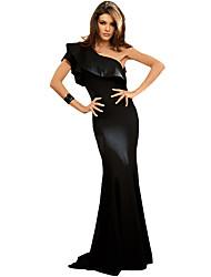 Moulante Robe Femme Soirée Sexy,Couleur Pleine Epaules Dénudées Maxi Manches Courtes Polyester Spandex Eté Taille Haute Elastique Moyen