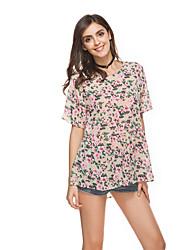 Damen Blumen Niedlich Normal T-shirt,Rundhalsausschnitt Kurzarm Chiffon