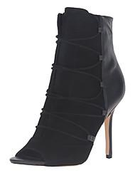 Damen Stiefel formale Schuhe Kunstleder Herbst Normal Kleid formale Schuhe Reißverschluss Elastisch Stöckelabsatz Schwarz Grau Rot10 - 12