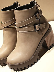 Women's Boots Combat Boots Nubuck leather PU Fall Casual Combat Boots Almond Gray Black 4in-4 3/4in