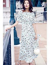 Ample Balançoire Robe Femme Sortie Décontracté / Quotidien simple Mignon,Imprimé Décolleté Maxi Midi Manches Courtes Taffetas en Polyester