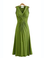 Для женщин Большие размеры Уличный стиль С летящей юбкой Платье Однотонный,V-образный вырез Средней длины Без рукавов Вязаная одежда Лето
