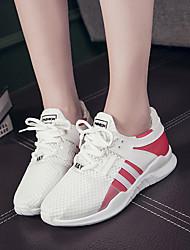 Femme Chaussures d'Athlétisme Confort Polyuréthane Printemps Eté Athlétique Décontracté Marche Lacet Talon Bas Blanc Noir Rose2,5 à 4,5