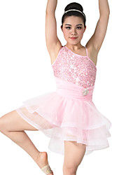 MiDee Dresses Performance Spandex /Crystals/Rhinestones / Paillettes / Ruffles / Sequins 2 Pieces Ballet Sleeveless