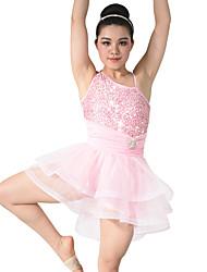 Dança Latina Vestidos Actuação Elastano Poliéster Lantejoulas Frufru Camadas 2 Peças Sem Mangas Natural Vestido Tiaras