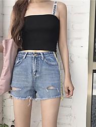 Femme simple Taille haute Micro-élastique Jeans Short Pantalon,Mince Toile de jean Couleur Pleine