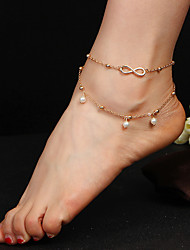 New Double Infinite Pearl Beads Pendant Anklet Foot Chain Summer Bracelet Charm Gold Color Anklets Foot Jewelry Gift