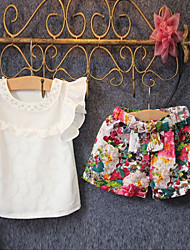 Girl's Fashion And Lovely Temperament lovely pearl hollow out breathable garments online  floral shorts Two-Piece Dress