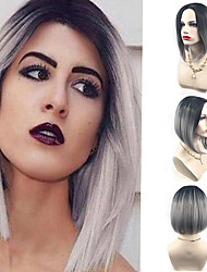 Grey Ombre Short Capless Wig Heat Resistant Fashion Beauty Style For Eurpoean and American Ladies It Girl's Wig Natural Looking