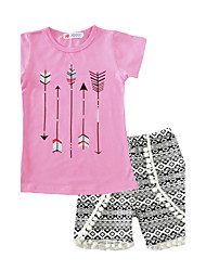 Arrow Girls' Print Sets Cotton Summer Short Sleeve Clothing Set T-shirt Shorts Pants 2pcs Outfits for   Kids